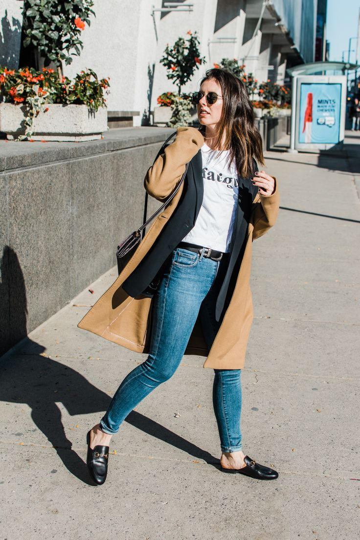 Graphic Tees + Blazers - Babaton Stedman Coat, Camel Coat, Wilfred Blazer, Aritzia, Gucci loafers, Citizens of Humanity Rocket Skinny Jeans