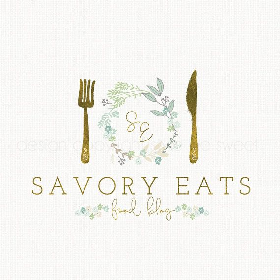 food blog logo restaurant logo fork and by stylemesweetdesign