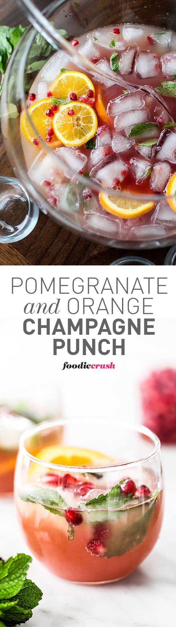 Prosecco or champagne make this easy punch recipe for a crowd extra bubbly | foodiecrush.com