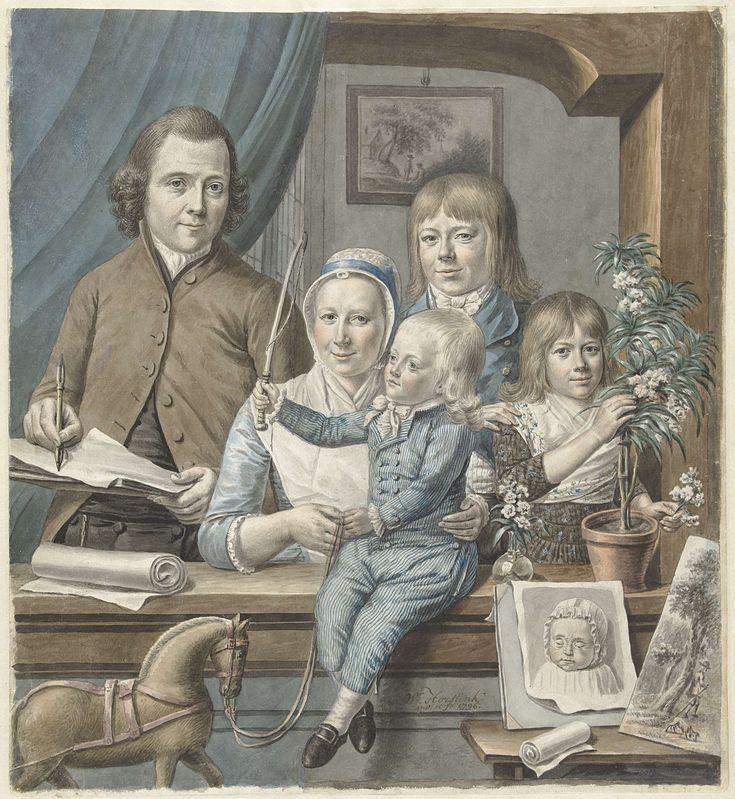 Warner Horstink   De kunstenaar zelf en zijn gezin, Warner Horstink, 1796   Familieportret van de kunstenaar en zijn gezin, afgebeeld in een vensternis. Horstink staat geheel links, schetsboek en tekenstift in de hand. Naast hem zijn vrouw en een kind in een gestreept pakje, leidsel en paardje vasthoudend. Daarnaast een oudere jongen en, geheel rechts, een meisje bij een plant. Voor haar het getekend portret van een dode baby.