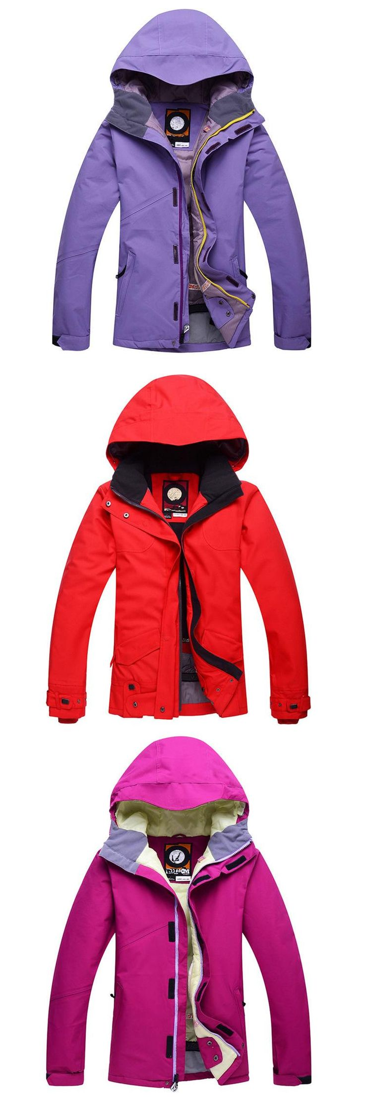 [Visit to Buy] Women Cheap Snow Jacket Ski Snowboard Clothing -30 Warm Coat Ski suit Jackets outdoor sports custome Red purple rose pure color #Advertisement