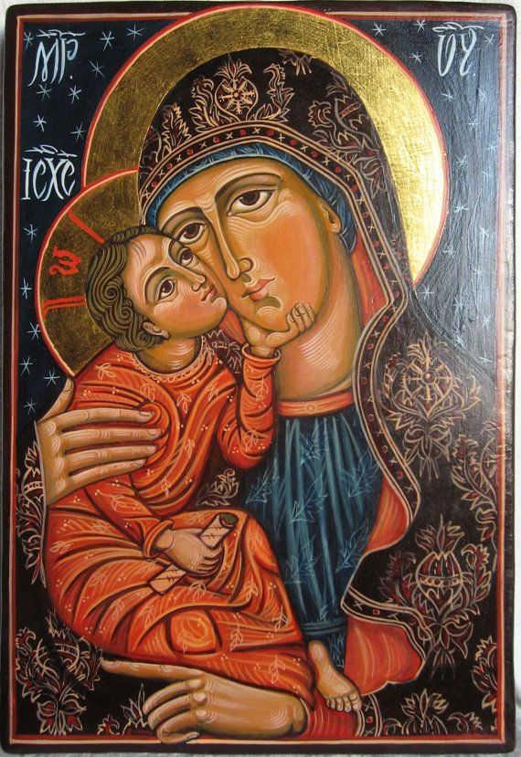 Mother of God with The Child Jesus. Eleousa Byzantine icon handpainted Romanian icon