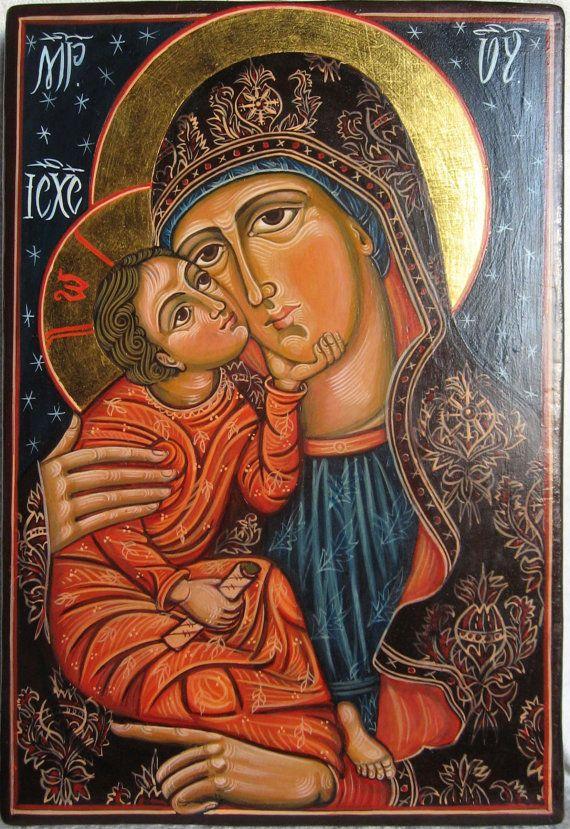Mother of God with The Child Jesus. Eleousa Byzantine icon