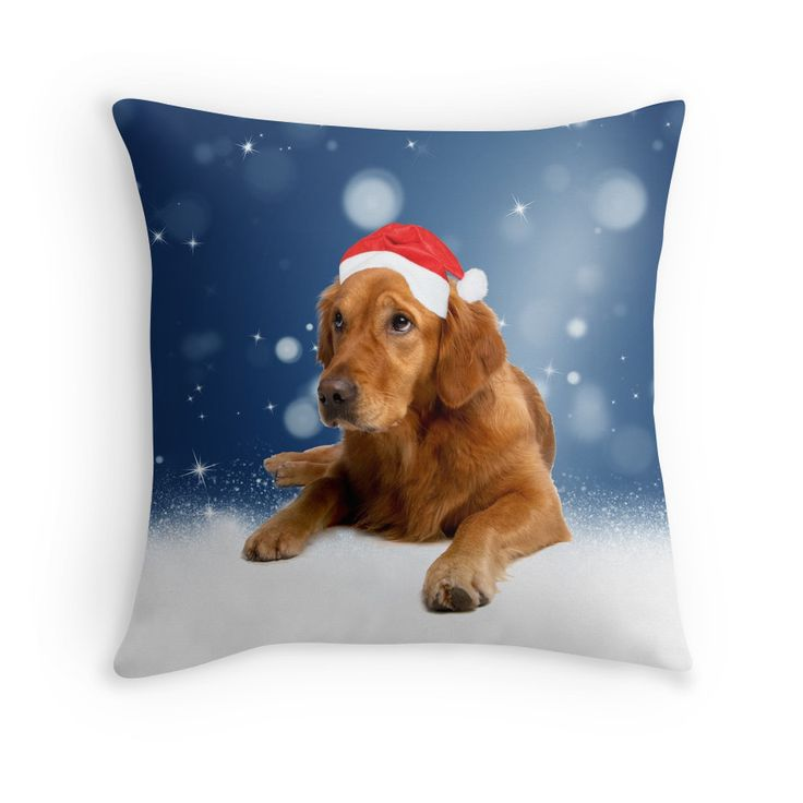 #Christmas Cute Golden #Retriever #Dog #Santa Hat #Snow 20% OFF use #code twentyoff