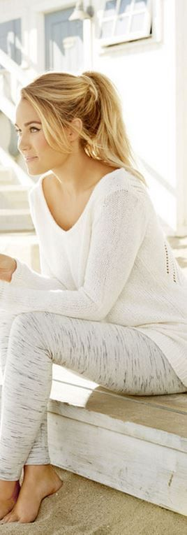 Who made Lauren Conrad's white sweater and gray leggings? Such a cute lounge outfit.