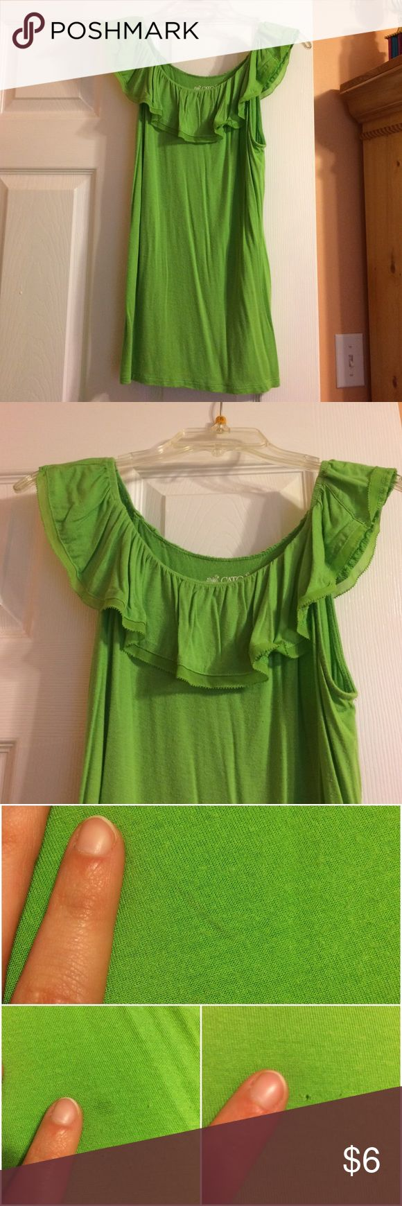 Lime green shirt Lime green tank top with a cute ruffle around the top!  Has minor signs of wear. Cato Tops Tank Tops