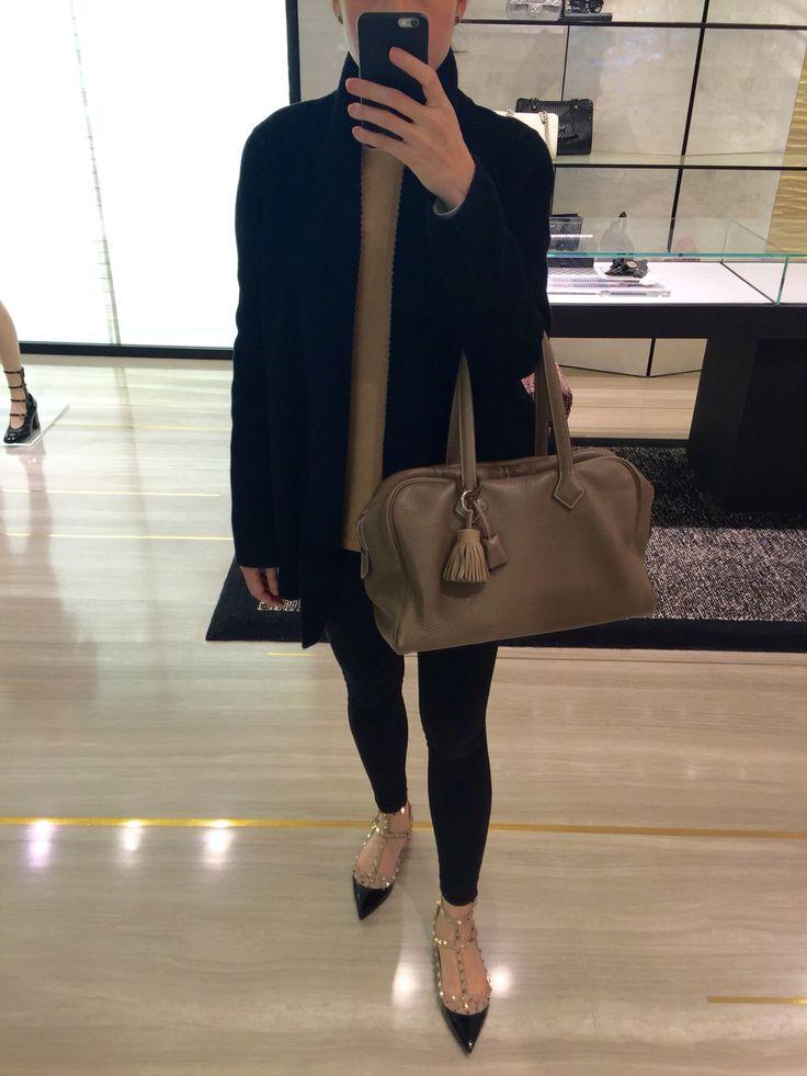 Won Hundred camel wool sweater, wool coat, H&M leggings, Valentino rockstuds ballerina flats, Hermes Victoria.