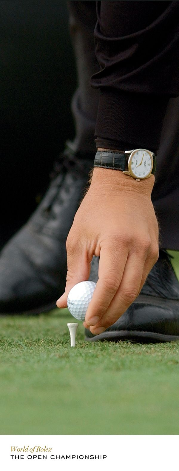Phil Mickelson setting his golf ball on the tee. #TheOpen #Rolex #RolexOfficial