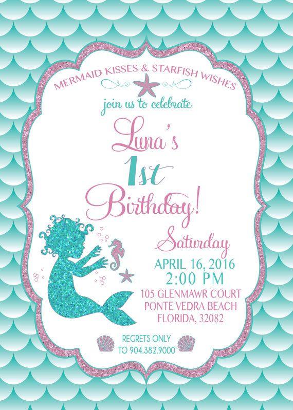Mermaid Birthday Invitation Mermaid Party Invite by SLDESIGNTEAM