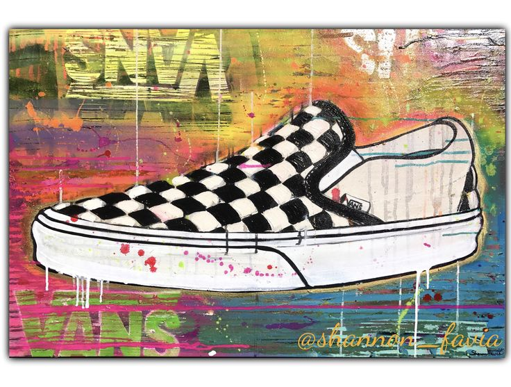 "Vans sneaker painting. 24""x36"" canvas.  Acrylic & aerosol.  #vans #classic #shoes #sneakerart #popart"