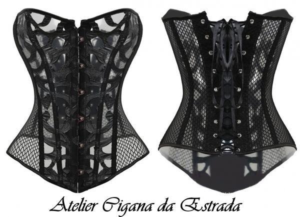 Corselet Steampunk Vintage #corselet #steampunk #bruxa #wicca #pombagira #pomba #gira #cigana #oldreligion #corset #15anos #fantasia #cosplay #costume #casamento #festa #ritual #mariapadilha #maria #mulambo