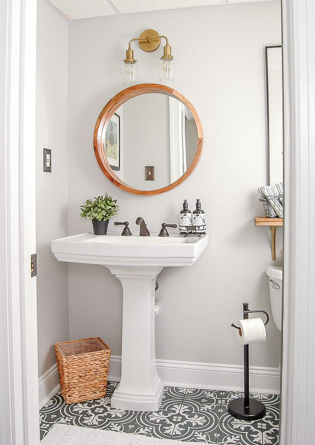 One Room Challenge Reveal: Gray and White Vintage Modern Bathroom