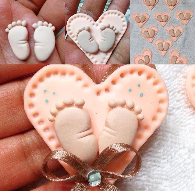 Recuerdos de Baby Shower Porcelana Fría Artesanal