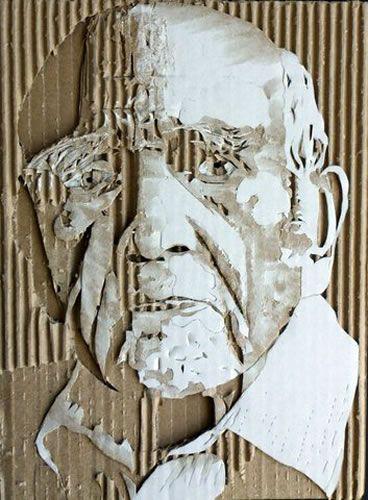 ダンボールで作った肖像画 / Cardboard Relief Portraits by Giles Oldershaw