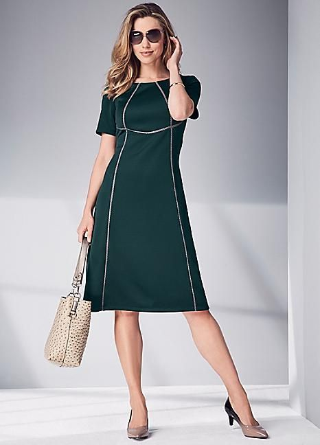 Trim Detail Scuba Dress #Kaleidoscope #Workwear