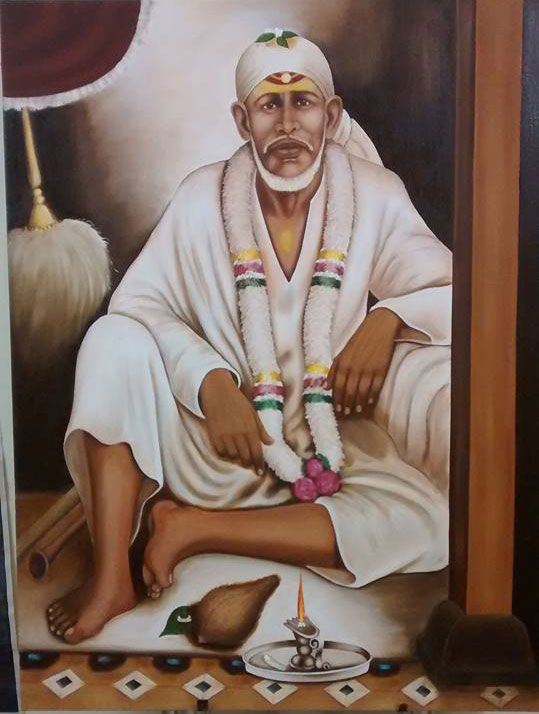 Today I am going to share my brother-in-law's Dwarkamai Sai Baba painting. This painting is devoted to all Baba's followers and devotees.