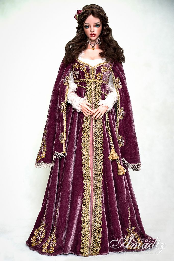 https://flic.kr/p/ytvWi5 | Purple Juliette - Renaissance outfit | Commission. Outfit included: - undershirt of 100% snow-white silk - purple velvet dress with floral embroidery, adorned with Czech beads, Swarovski pearls and glass beads. - wig with soft dark chocolate curls decorated with vintage metal accessories and paper roses. Iplehouse Bliss on EID body - Mila O'Nill Outfit, wig, face-up by Amadiz Studio