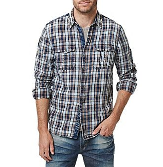 Buffalo by David Bitton Men's Long Sleeve Twill Woven Shirt