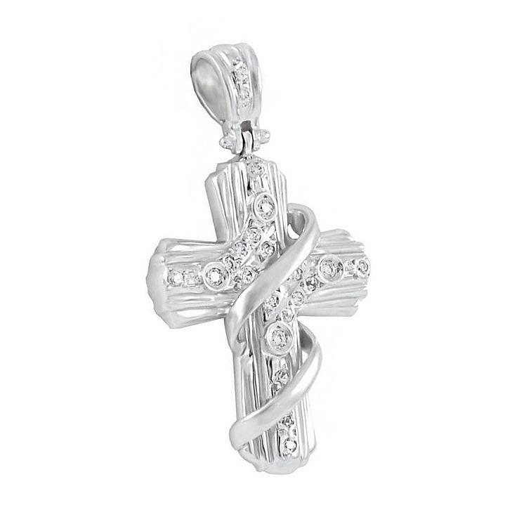 ΣΤ481Τ -Λευκόχρυσος βαπτιστικός σταυρός