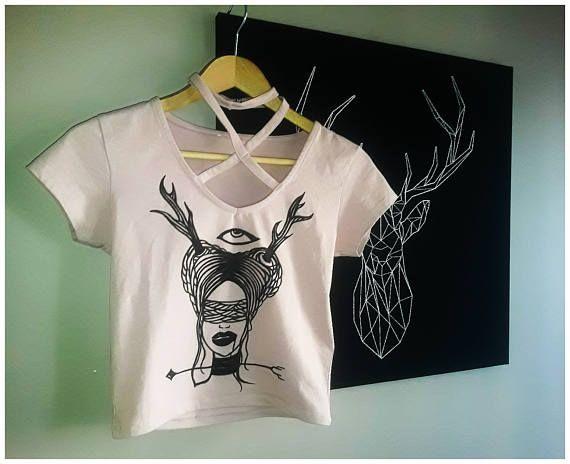 hand drawing drawn eye gothic occult tattoo crop top shirt
