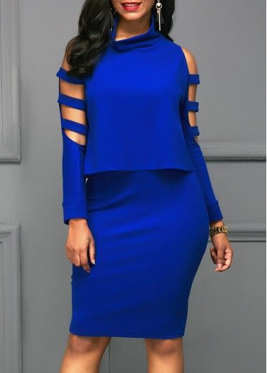 Royal Blue Ladder Cutout Sleeve Top and Skirt at Rosewe.com.