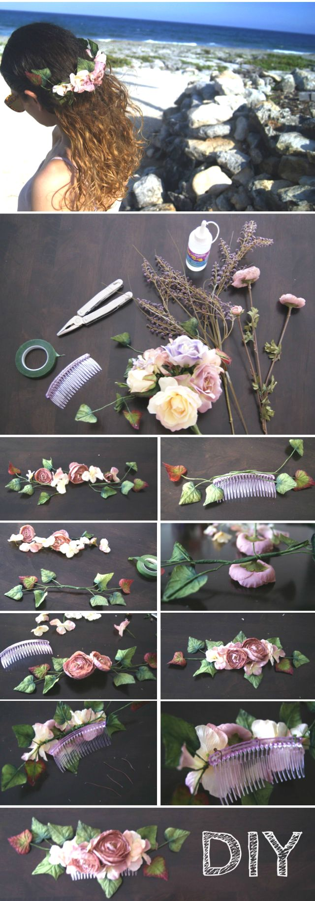 DIY Flower Hair Comb