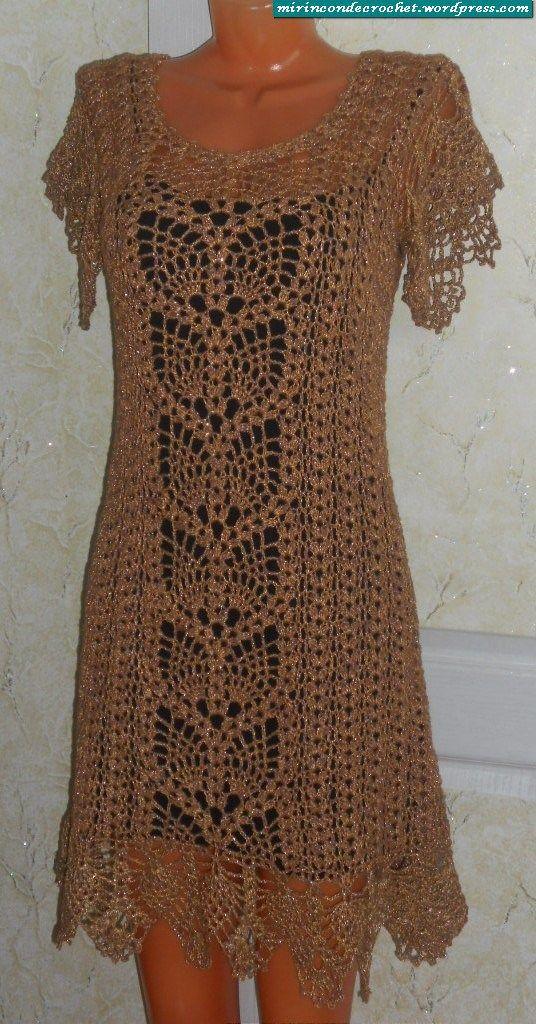 Free Crochet Dress Patterns In English : 118 best images about H?keln Kleid / Women crochet dress ...