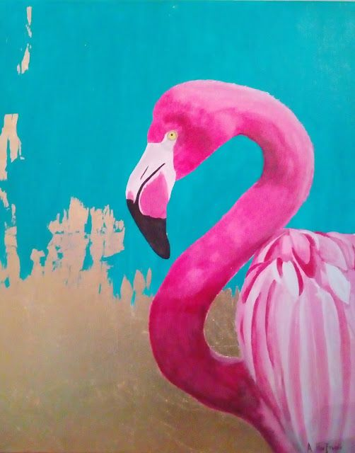 Acrylics & Gold Leaf on Deep Edge Canvas 40x50cm, ARTbyAl.P.: Pink Flamingo