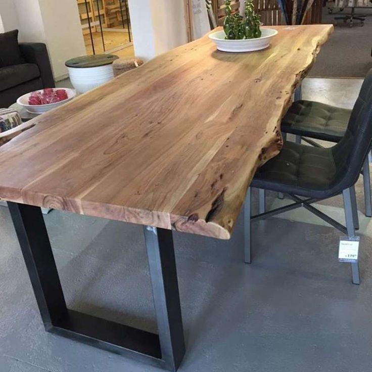 Esstisch Baumkante 300 x 100 cm Esszimmertisch Baumstamm Massivholz Akazie Metall