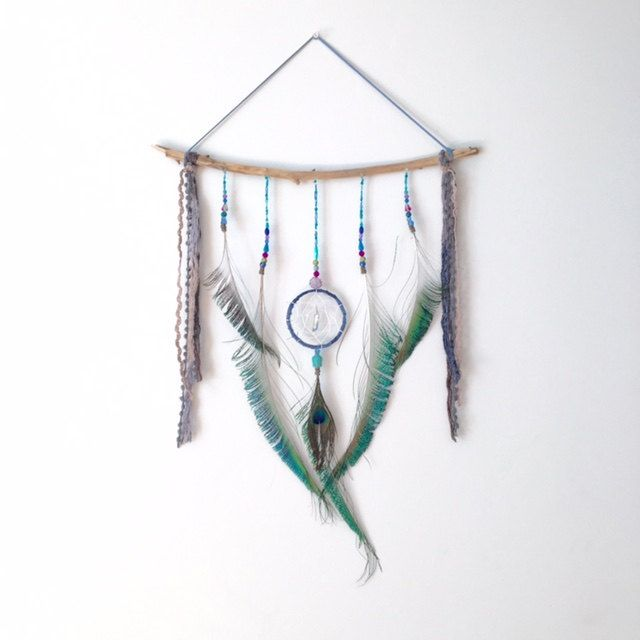 Dream catcher wall hanging peacock feather for Altar wall decoration