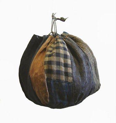 "* Antique Japanese patchwork rice bags know as ""komebukuro"""