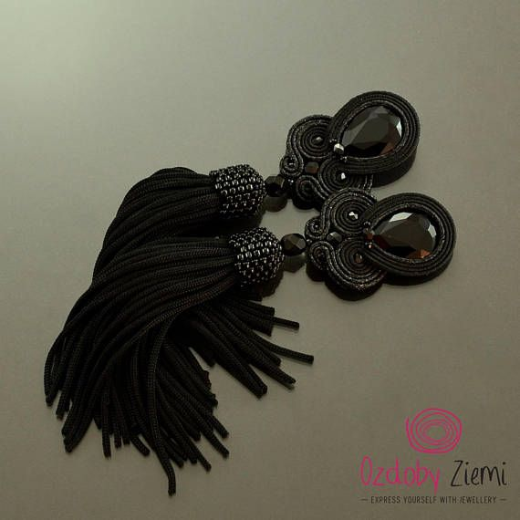 Black tassel earrings long black soutache earrings long