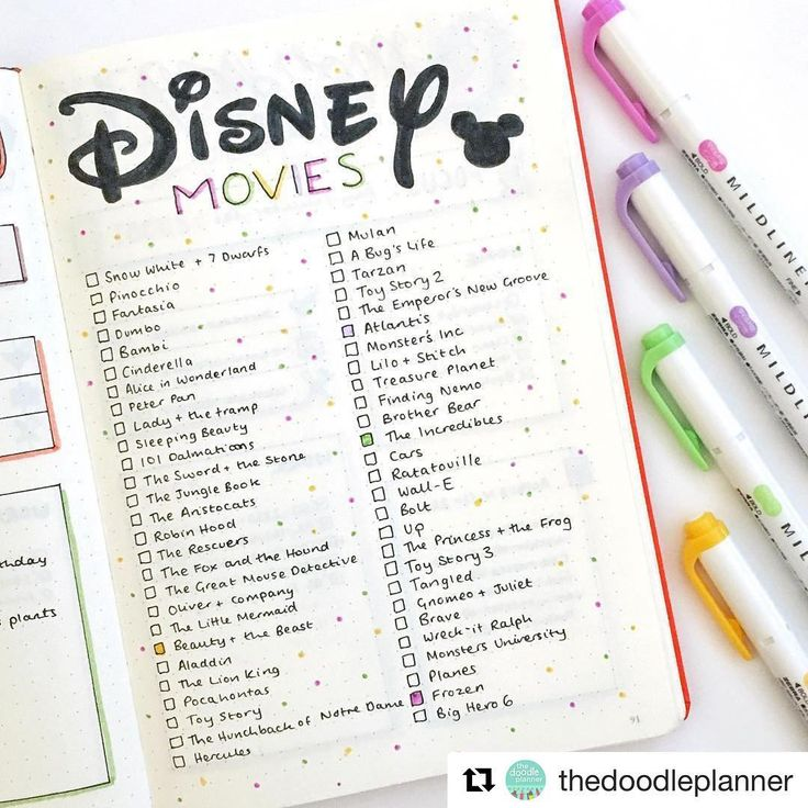 Bullet Journal Inspiration sur Instagram : Want to see my own bujo pictures? Check out my account at @thedoodleplanner! ❤️ This Disney spread has been so popular!! My favourite is…