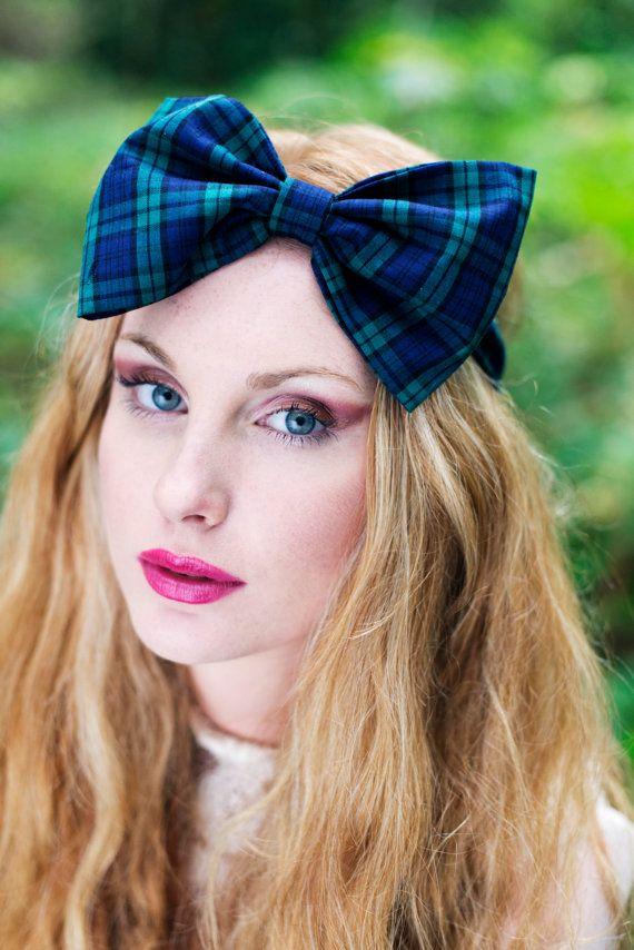 Tartan Bow Headband, Tartan Headband, Dolly Bow, Oversized Bow by beauxoxo, £12.00
