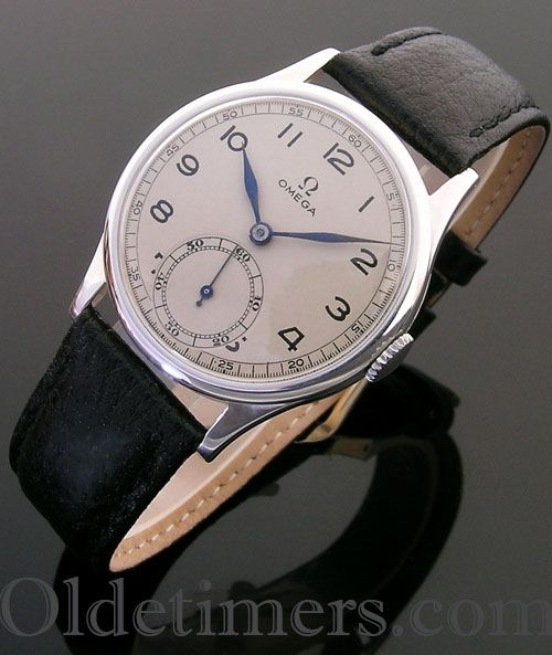 A rare silver vintage 'military style' Omega watch, 1941