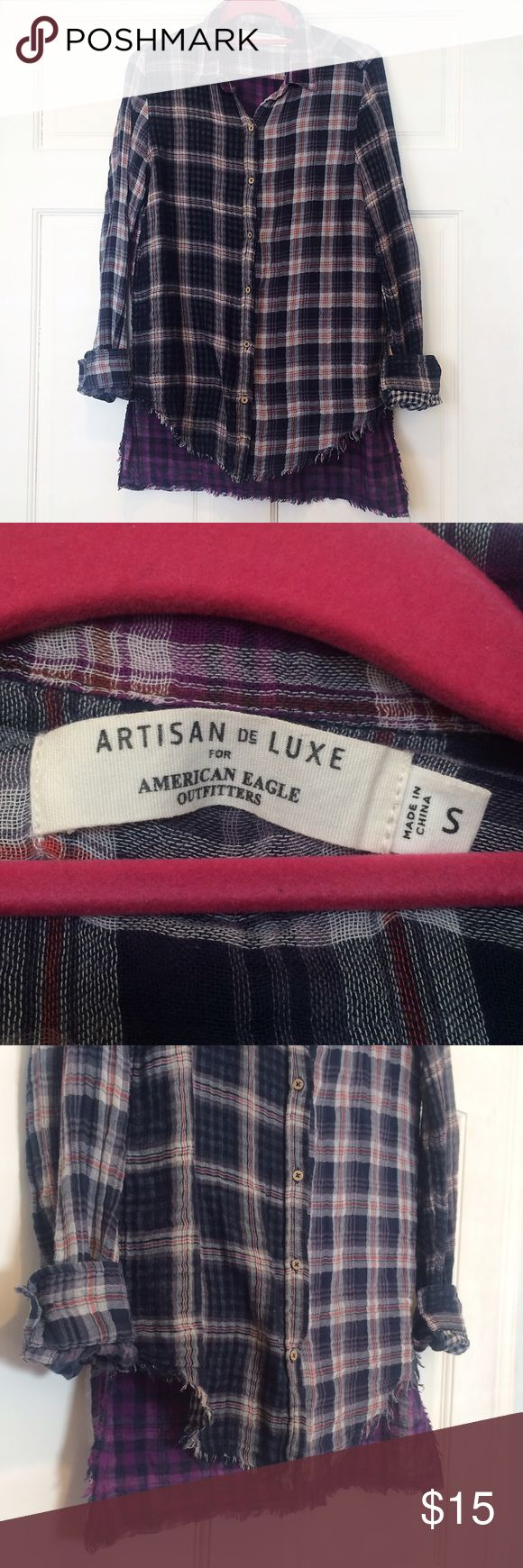 American Eagle Asymmetric Hem Flannel Tunic Artisans de Luxe for American Eagle Outfitters Asymmetric Hem Plaid Flannel Top. Gently used- great condition! Adorable wooden buttons! 100% cotton- very soft! No trades, offers welcome! ☺️ American Eagle Outfitters Tops Button Down Shirts