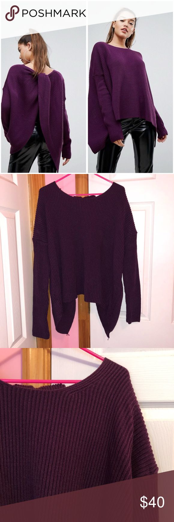 """ASOS Boohoo Purple Twist Back Sweater Boohoo from ASOS. Only tried on and has been hand washed. Was not put in the dryer. Chunky ribbed knit purple sweater. High cut neckline. Twist back. Oversized/relaxed fit. Size is a M/L (so approx sizes are 8-12). The front is approx 22"""" laying flat. Bust laying flat is approx 56"""". 100% acrylic. Stock photos from ASOS website. ❌NO TRADES❌ ASOS Sweaters"""
