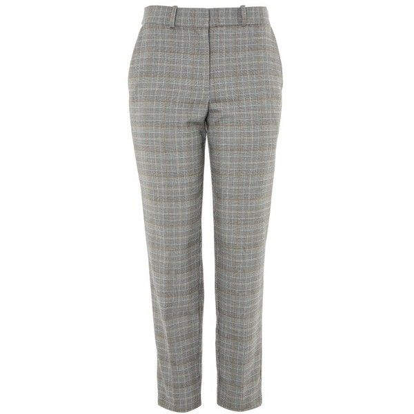Women's Topshop Check Taper Leg Trousers (€76) ❤ liked on Polyvore featuring pants, capris, tapered trousers, cropped trousers, cropped capri pants, checked trousers and plaid trousers