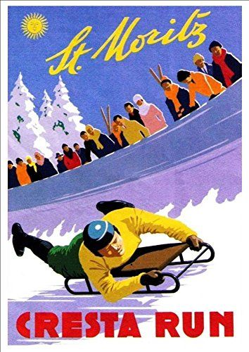 'St. Moritz - Switzerland' (2) - A4 Glossy Art Print Taken From A Rare Vintage Travel Poster by Vintage Travel Posters http://www.amazon.co.uk/dp/B01BHNYR6Q/ref=cm_sw_r_pi_dp_IHgTwb1ZG44FH