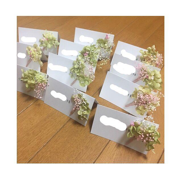 【結婚式DIY】ミニブーケ付き席札が可愛い♡ | marry[マリー]