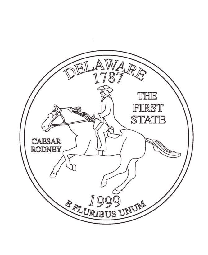delaware state quarter coloring page - Coloring Page Quarter