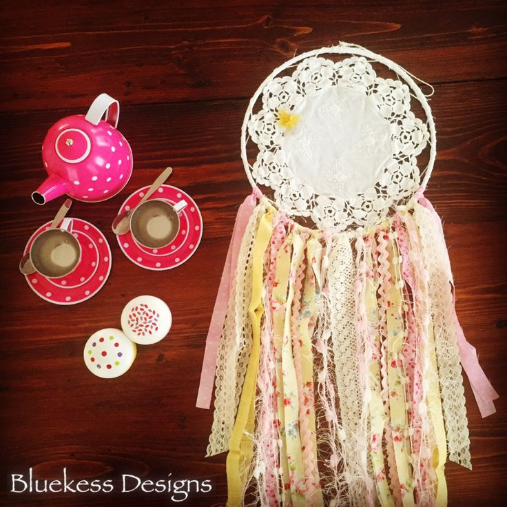 Pretty Boho Upcycled Vintage Dream Catcher in Pinks and Yellows by BluekessDesigns on Etsy