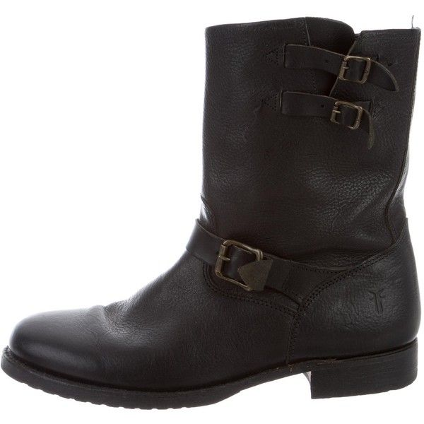 Pre-owned Frye Leather Moto Boots ($110) ❤ liked on Polyvore featuring men's fashion, men's shoes, men's boots, black, mens engineer boots, mens leather motorcycle boots, mens leather biker boots, mens buckle shoes and mens shoes