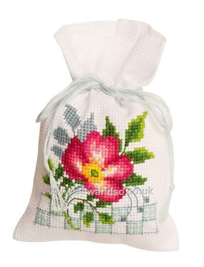Pink Flowers III Pot-pourri Bag Cross Stitch Kit