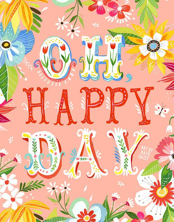 Oh Happy Day vertical print by thewheatfield on Etsy, $18.00