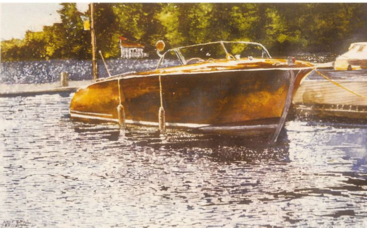 "muskoka launch 4 16"" x 26"" outside of marina near cleveland house  micheal zarowsky watercolour on arches paper / private collection"