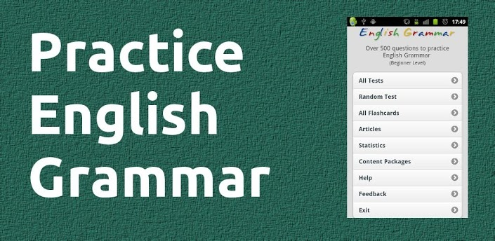 English Grammar er både til android og IOS. En super fin app og øve grammatik efter og der er masser af opgaver. Indfyldningsopgaver, hvor man skal skrive ordet i den rigtige tid etc. Husk man får fejl, hvis man skriver med stort begyndelsesbogstav:-). Der er også lytteøvelser, hvor man skal skrive det manglende ord. Der er læseøvelser med spørgsmål til.