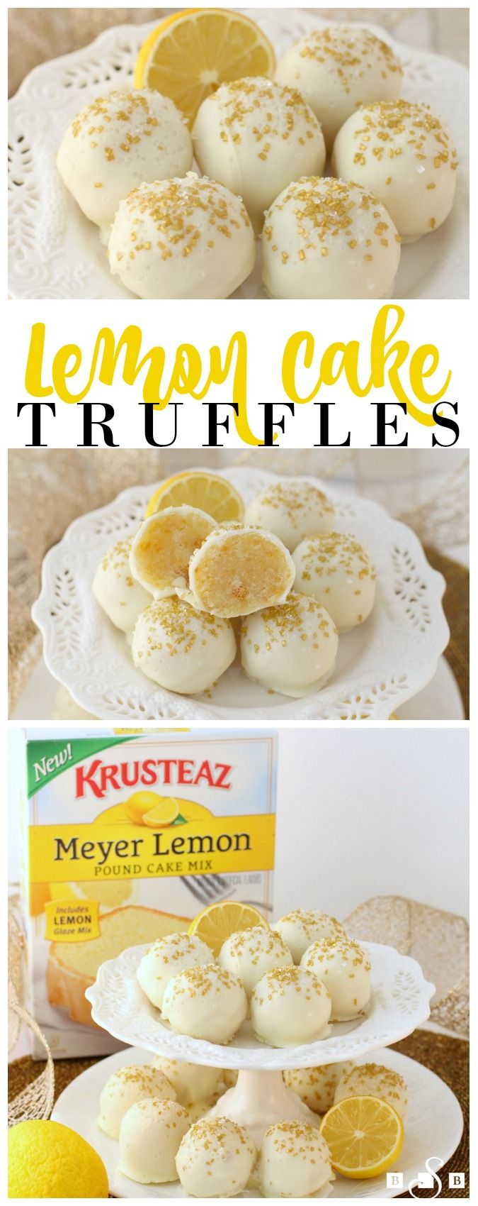 Lemon Cake Truffles - Butter With A Side of Bread #MyKrusteaz