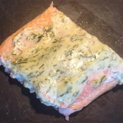 Grilled Salmon wiht Dill Sauce   Grilled salmon stays moist with a simple mayonnaise and dill sauce.