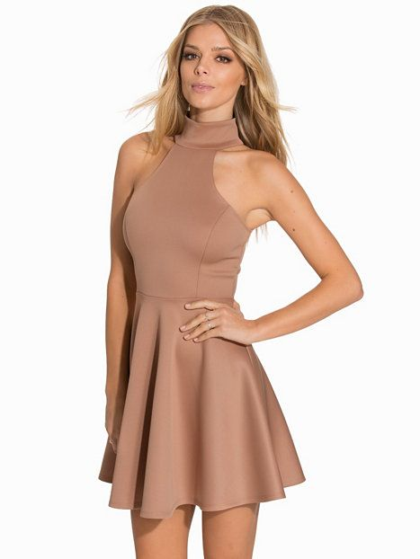 Polo Neck Skater Dress - Nly One - Beige - Festkjoler - Klær - Kvinne - Nelly.com